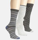 Avenue Grey Patterned Knit Socks 3-Pack