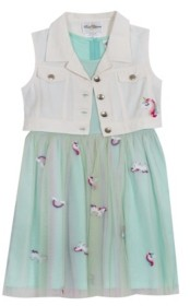 Rare Editions Little Girls Embroidered Mesh Dress with Denim Vest