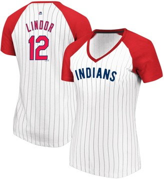 Majestic Women's Francisco Lindor White/Red Cleveland Indians Every Aspect Pinstripe Name & Number V-Neck T-Shirt