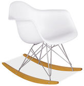Eames® Molded Plastic Armchair Rocker with Maple Base