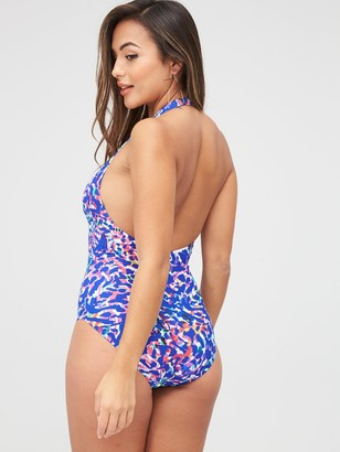 Figleaves Longer Length Non Wired Halter Plunge Tummy Control Swimsuit