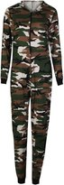 Fashion Box Womens Leopard Alphabet And Army Print Viscose Jersey Onesie Hooded Jumpsuit