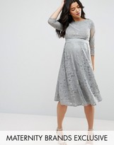 Little Mistress Maternity All Over Lace Crochet Skater Dress With 3/4 Sleeve