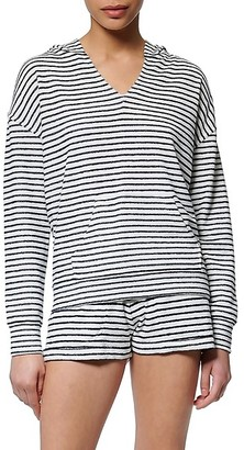 Andrew Marc Striped V-Neck Hoodie