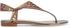 Sergio Rossi Tresor Crystal-embellished Laser-cut Suede Sandals