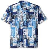 Stacy Adams Men's Big-Tall Linen Blend Print Short Sleeve Shirt Mixed