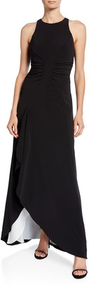 Halston Sleeveless High-Neck Open Drape Gown with Ruching
