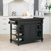 Asstd National Brand Langford Rustic Wood Kitchen Island with Wine Rack