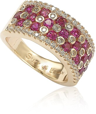 Suzy Levian Red & White CZ Eternity Band