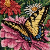 Dimensions Needlepoint, Butterfly on Zinnia