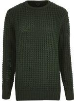River Island MensDark green chunky waffle sweater