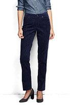 Classic Women's Pre-hemmed Straight Leg Velvet Pants-Blue Blackwatch
