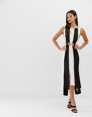 Asos Design DESIGN knot waist monochrome crepe spliced midi dress-Multi