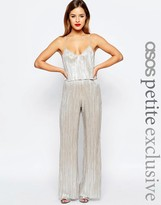 Asos Metallic Pleat Jumpsuit with Crop Top Layer