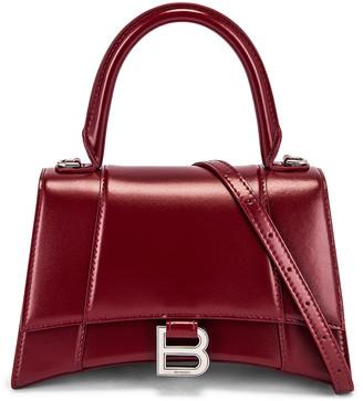 Balenciaga Small Hourglass Top Handle Bag in Dark Red   FWRD