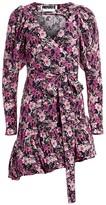 Rotate by Birger Christensen Nancy Floral Lurex Wrap Dress