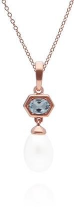 Gemondo Modern Pearl & Blue Topaz Pendant In Rose Gold Plated Silver