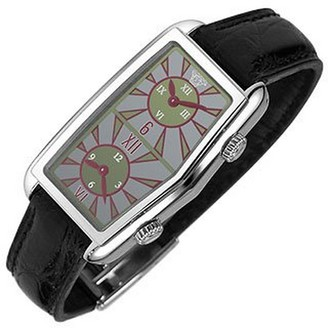 Versace Women's Gray Logoed Dial Leather Dual-time Watch