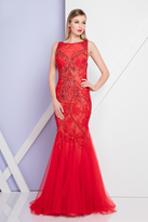 Terani Couture 1721GL4419 Sleeveless Beaded Floral Trumpet Gown