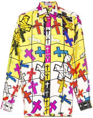 Versace Pre Owned Crossed Design Printed Shirt