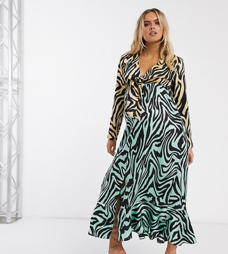 Asos DESIGN Maternity knot front maxi dress in mixed animal print