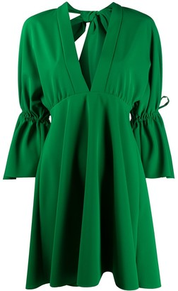 Sara Battaglia Plunge-Neck Drawstring Detail Dress