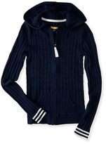 Aeropostale Womens Prince & Fox Cable Hooded Full Zip Cardigan