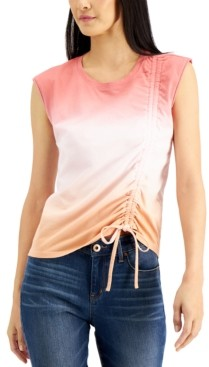 INC International Concepts Inc Petite Cotton Ombre Ruched Top, Created for Macy's