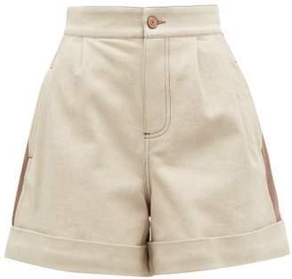 See by Chloe Panelled Denim Shorts - Womens - Beige