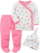 Carter's 3-Pc. Cotton Butterfly-Print Hat, Top & Footed Pants Set, Baby Girls