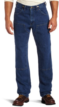 Key Apparel Men's Relaxed Fit Enzyme Washed Indigo Denim Logger Dungaree