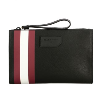 Bally Skid.of Clutch Bag In Saffiano Leather With Striped Band