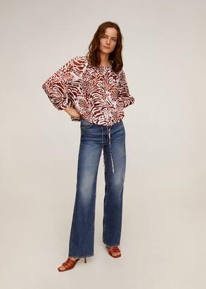 MANGO Printed cotton blouse maroon - 2 - Women