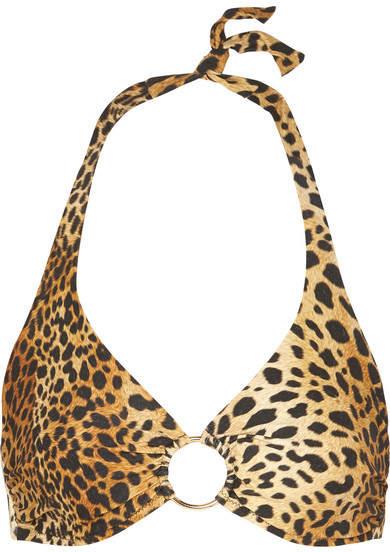 Melissa Odabash Brussels Embellished Halterneck Leopard-print Bikini Top - Leopard print