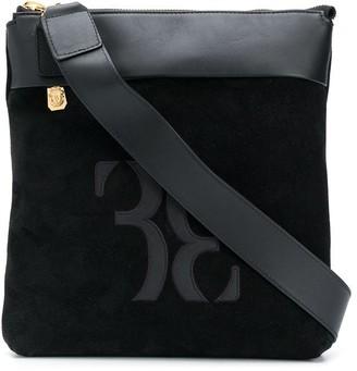Billionaire Logo Leather And Suede Shoulder Bag
