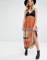 Glamorous Maxi Cami Dress With Lace Panels
