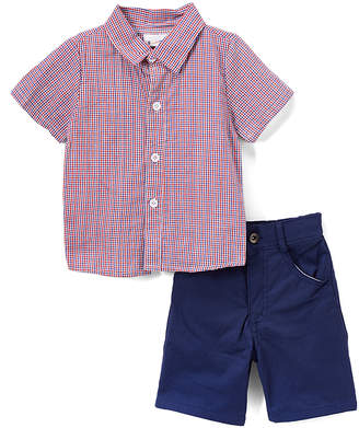 Sweet & Soft Boys' Casual Shorts Red - Red & Blue Plaid Button-Up & Navy Shorts - Infant & Toddler