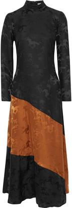 Ganni Two-tone Silk-jacquard Maxi Dress
