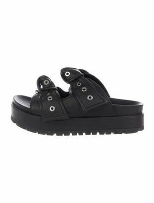 Alexander McQueen Leather Studded Accents Slides Black