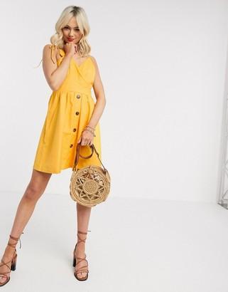 Gilli button down sun dress in yellow