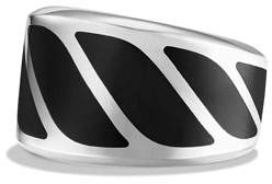 David Yurman Men's Graphic Cable Band Ring w/Black Onyx