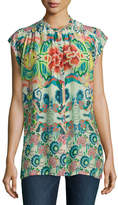 Johnny Was Sage Button-Front Printed Top, Plus Size