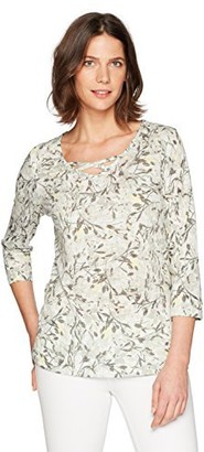 Erika Women's Clea Wispy Floral Print Cross Neck Top with Bling Bodice