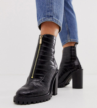 ASOS DESIGN Wide Fit Bella front zip chunky boots in black croc
