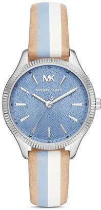 Michael Kors Lexington Striped Leather Strap Watch, 36mm