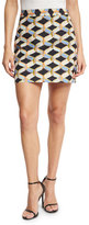 Milly Chain-Print Faille Miniskirt, Black