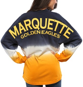 Unbranded Women's Navy Marquette Golden Eagles Ombre Long Sleeve Dip-Dyed Spirit Jersey