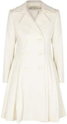 Alice + Olivia Leila Ivory Wool-blend Coat