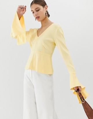 ASOS deep V neck tie cuff top