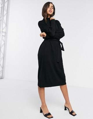 Gestuz Rian volume sleeve jumper dress in black